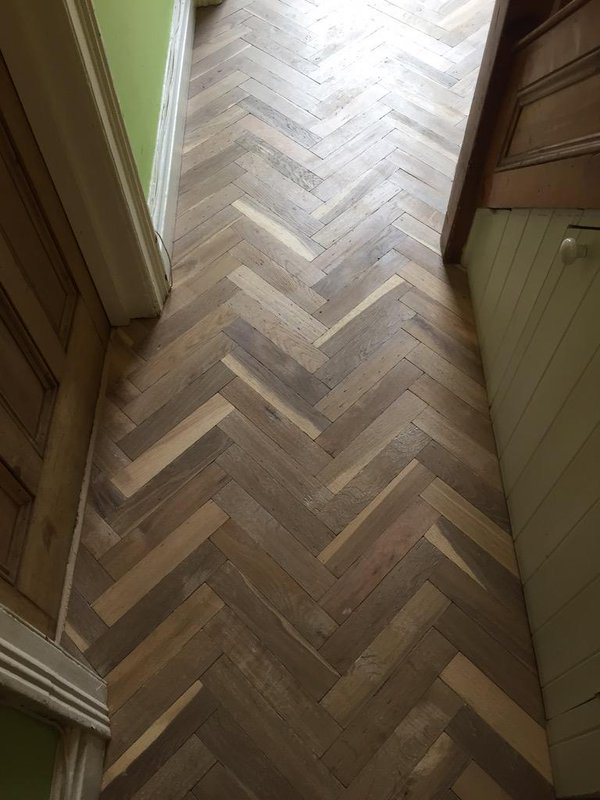 Bespoke 10mm Solid oak Parquet Fumed and White Washed 2