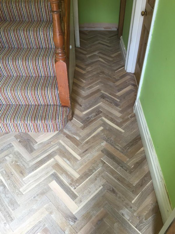 Bespoke 10mm Solid oak Parquet Fumed and White Washed