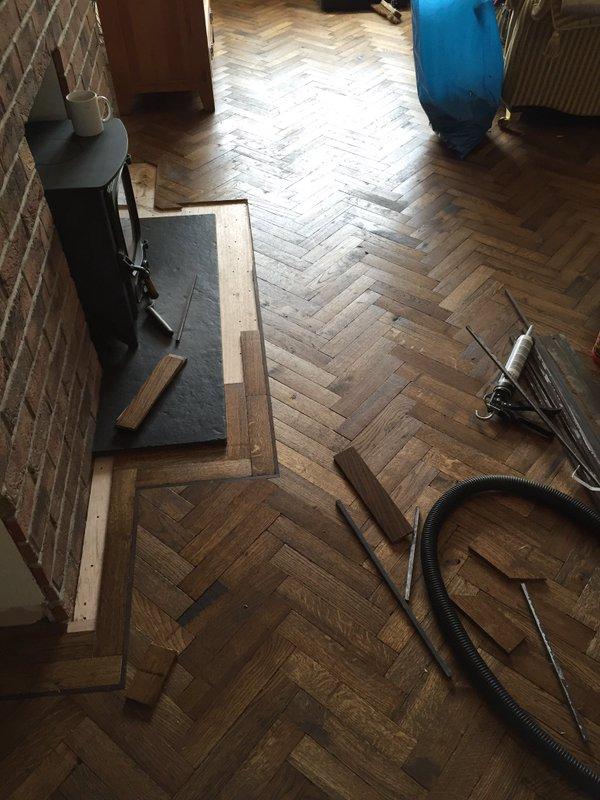 Solid Block Old English Stain Herringbone Parquet 1