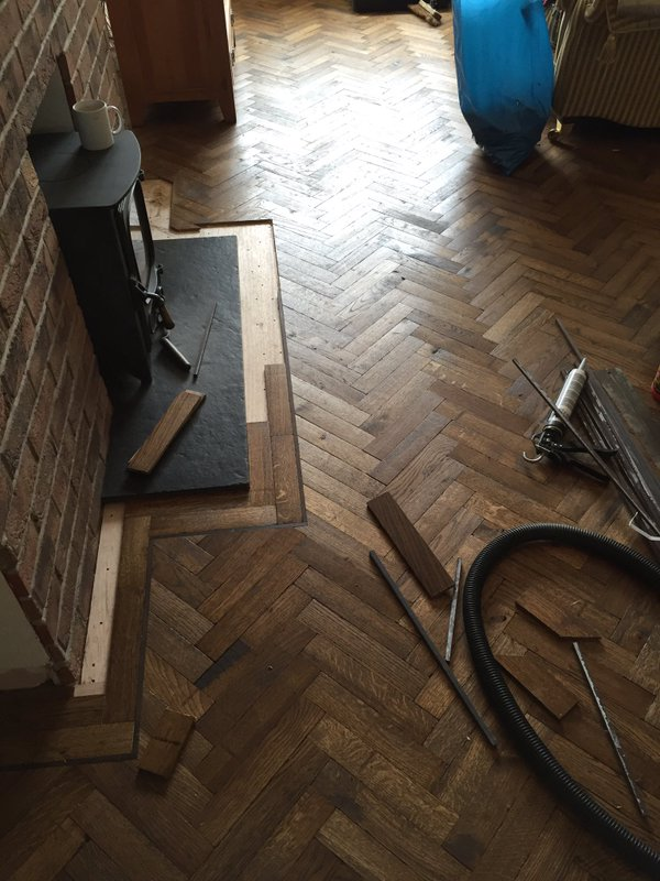 Solid Block Old English Stain Herringbone Parquet 2