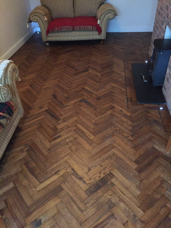 Solid Block Old English Stain Herringbone Parquet